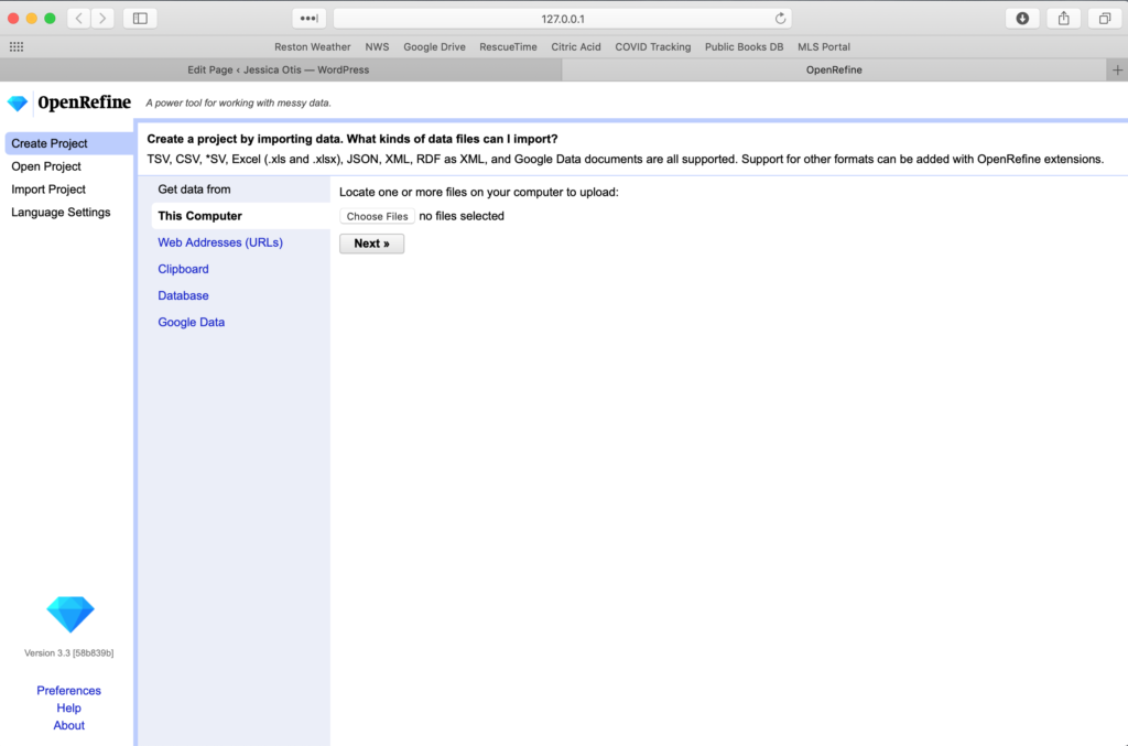 screenshot of the Open Refine new project page prompting users to import data files