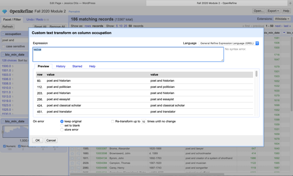 screenshot of the custom column transformation panel in Open Refine with field to input new value and two columns showing previous and transformed values of sample cells