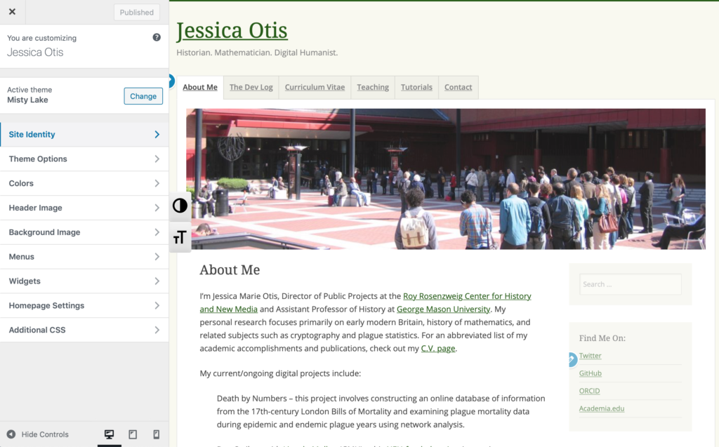 image of jessicaotis.com with WordPress Appearance Customize for Misty Lake theme on left-hand sidebar