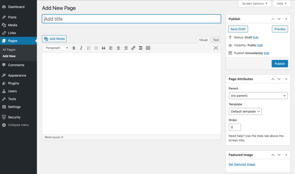 WordPress new page interface using the Classic editor