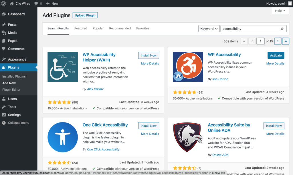 screenshot of a search for WordPress accessibility plugins showing four of the top plugins in 2020