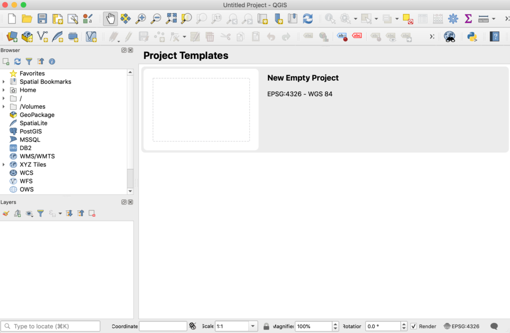 screenshot of QGIS software showing the project template list
